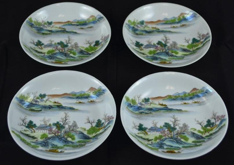 Four Famille Verte Chinese Porcelain Plates