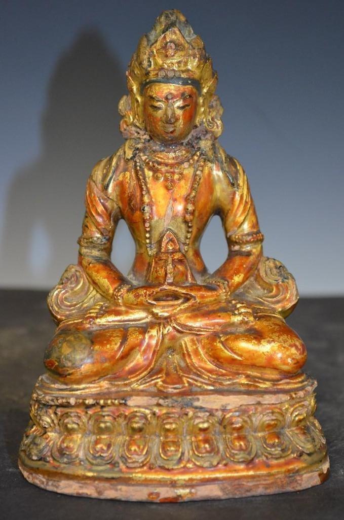 Chinese Guild/Poly Chrome Seated Buddha Stone