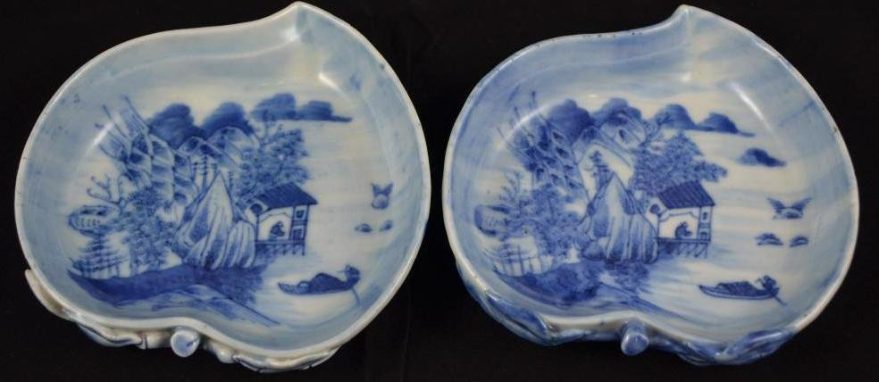 A Pair of Chinese Blue & White Porcelain Peach Shape Br