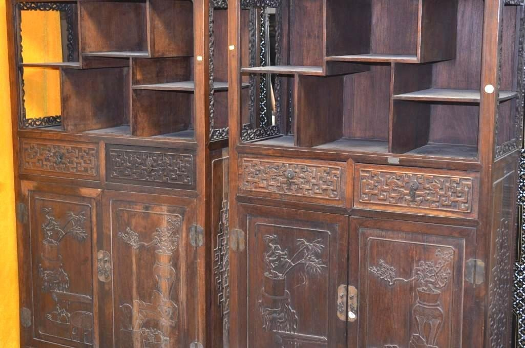 Pair of Antique Chinese Rosewood Display Cabinets