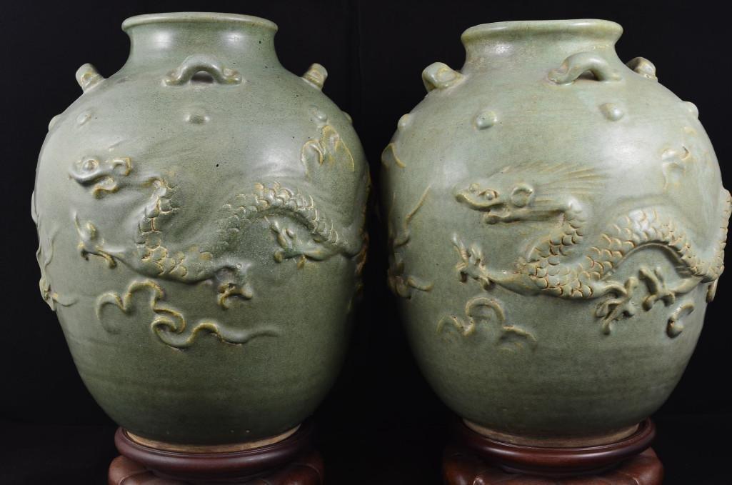 Pair of Martaban Dragon Porcelain Vases