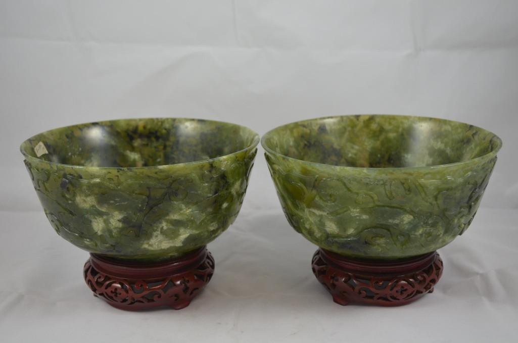 Pair of Carved Spinach Jade Bowls and Wood Stands