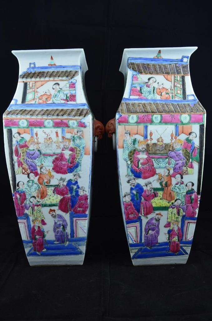Pair of Famille Rose Square Vase with Foo Lion Mask Han