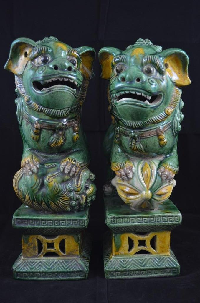 Pair of Chinese San Cai Glazed Foo Lions