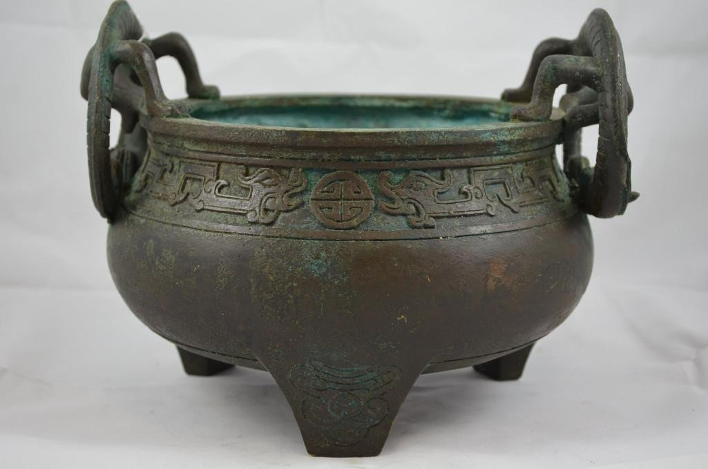 Chinese Bronze Tripod Censer with Dragon Handles