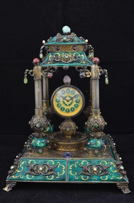 Vienna Clock of Silver & Enamel with Various Precious S