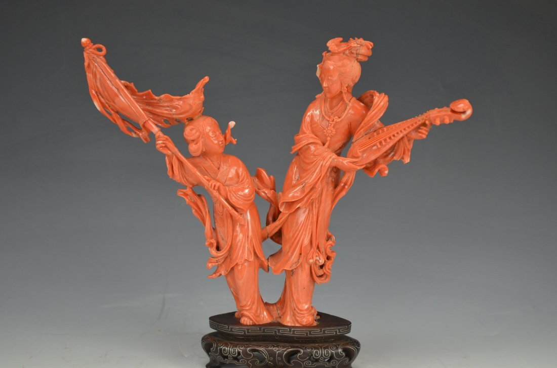 Magnificent Antique Chinese Carved Coral Statue