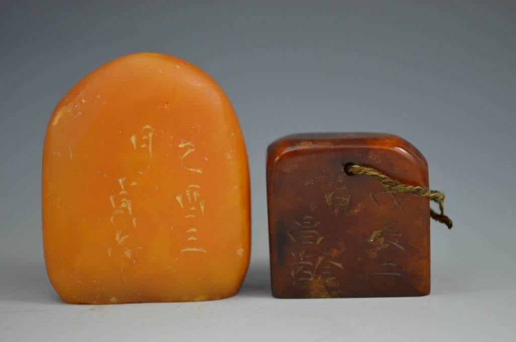 Two Carved Soap Stone Seals
