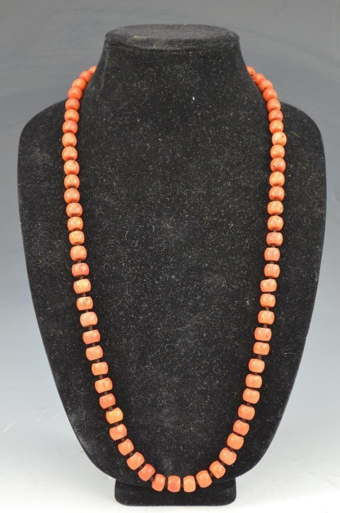 Chinese Orange-Red Coral Beaded Necklace