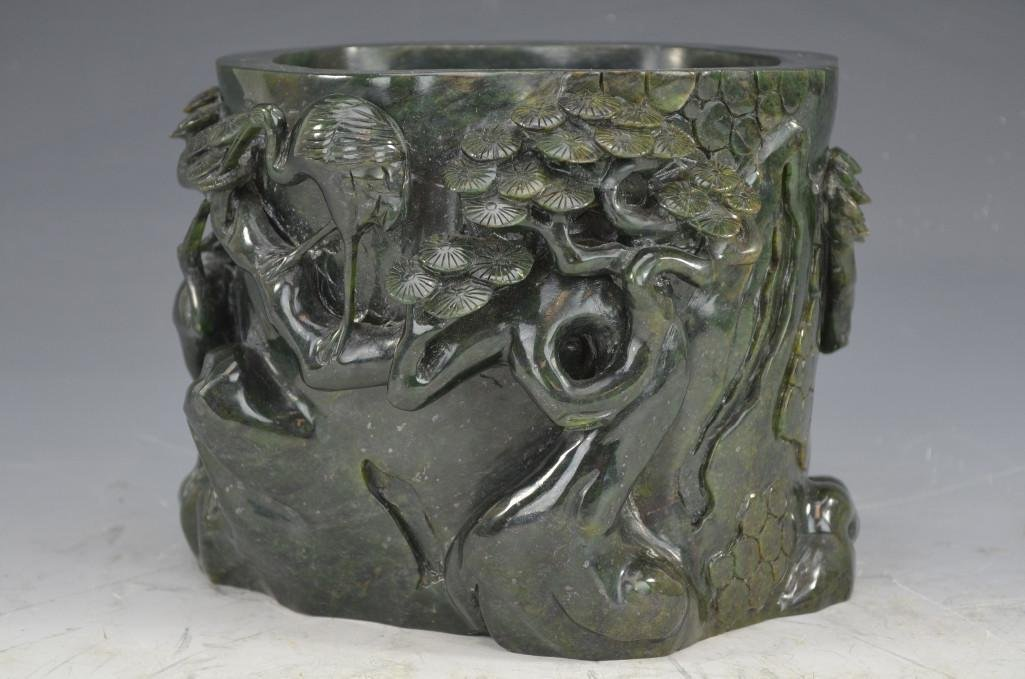 Carved Spinach Jade Brush Pot