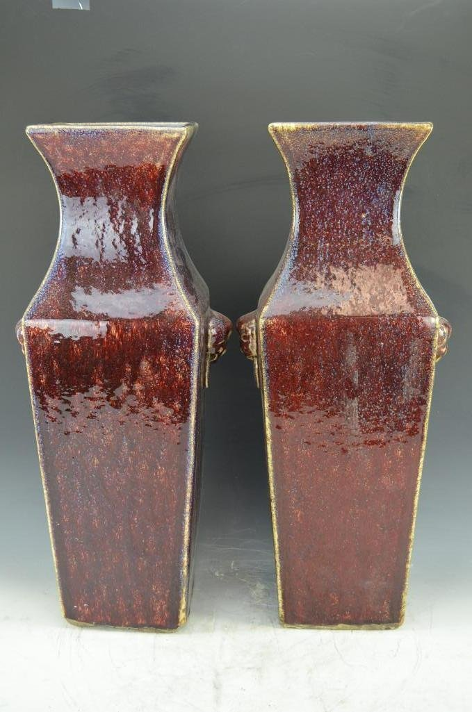 Pair of Chinese Ox Blood Glaze Porcelain Vases