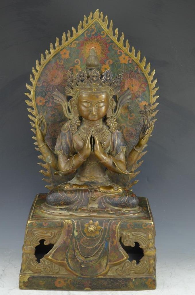 Bronze Cloisonne Enamel Seated Buddha