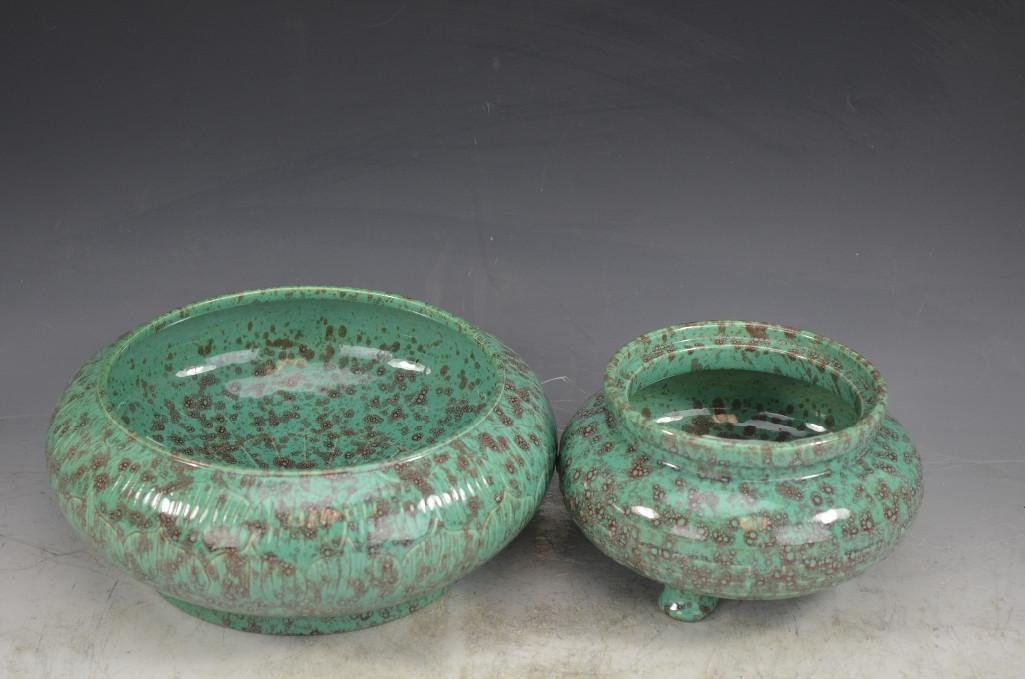 Two Chinese Robins Egg Glaze Bowls