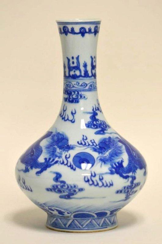 Chinese Blue & White Dragon Bottle Vase