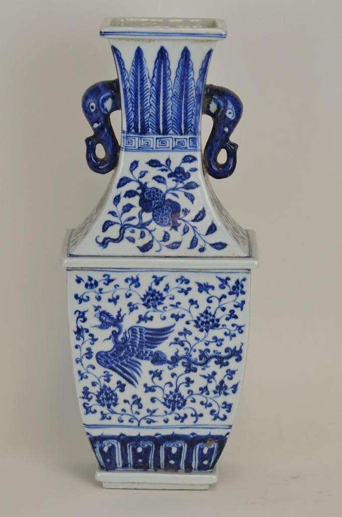 Chinese Blue & White Porcelain Square Vase