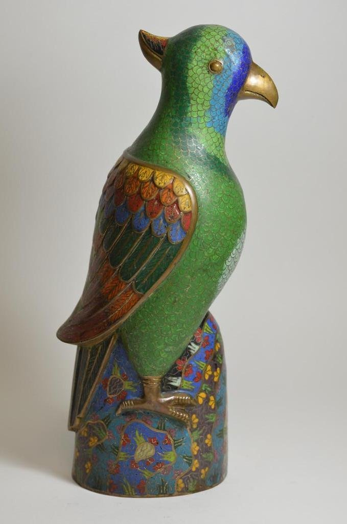 Bronze Cloisonne Enamel Seated Parrot