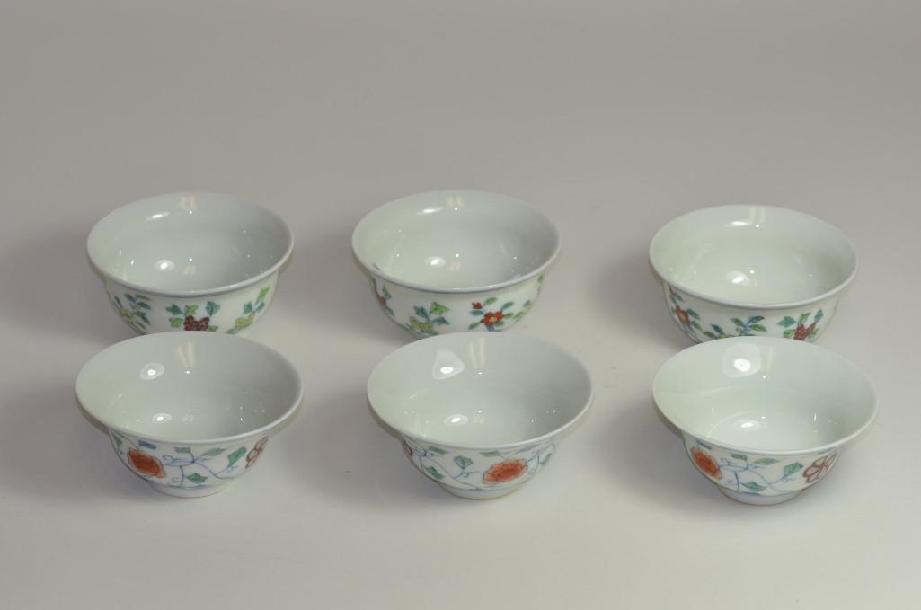 Six Wucai Porcelain Cups