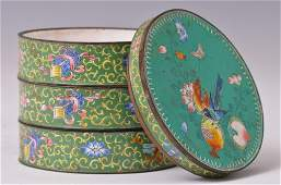 Antique Chinese 20th C Stacked Cloisonne Box