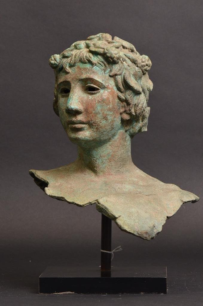 Bronze Bust of Greek Warrior with Crown of Laurels