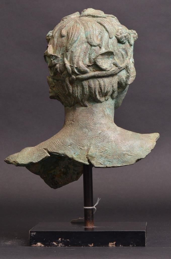 Bronze Bust of Greek Warrior with Crown of Laurels - 3