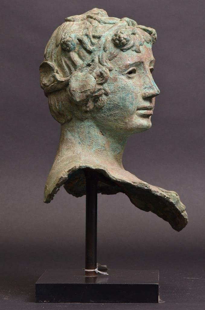 Bronze Bust of Greek Warrior with Crown of Laurels - 4