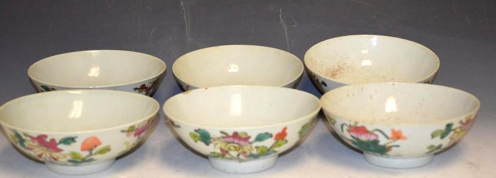 Six Famille Verte Porcelain Bowls
