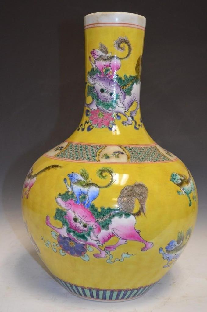 Chinese Yellow Ground Famille Verte Foo Dog Vase