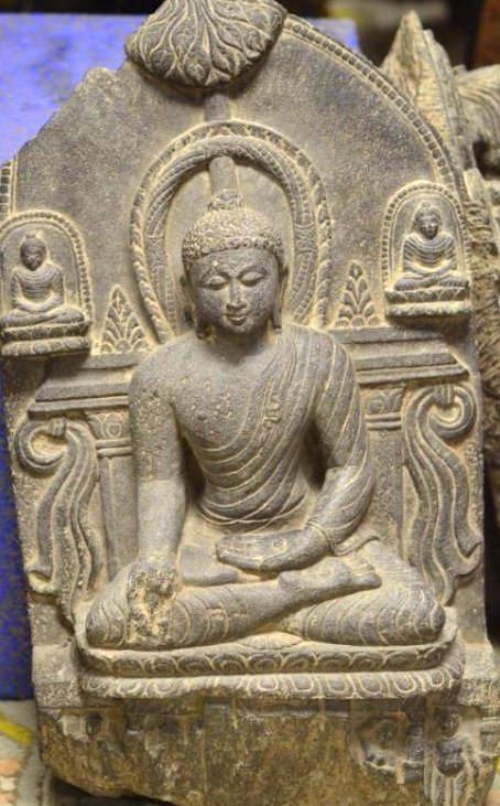 Antique Carved Schist Figure of Seated Buddha