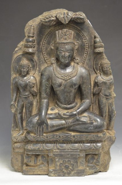 Large Black Schist Carving of a Seated Buddha