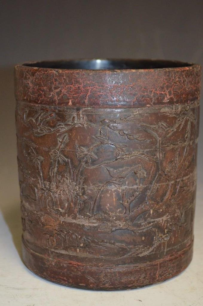 Antique Chinese Lacquered Carved Wood Brush Pot