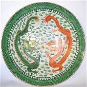 Chinese Dragon Porcelain Famille Verte Charger