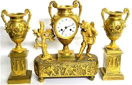 Antique French Bronze Clock Set in Empire Style