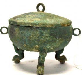 Chinese Bronze Lidded Tripod Vessel