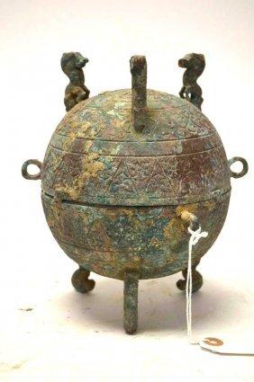 Chinese Bronze Tripod Lidded Vessel