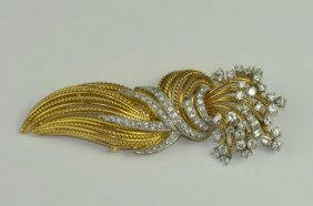 18k Yellow & White Gold & Diamond Brooch