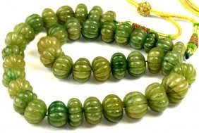 Strand Of Colombian Emerald Melon Shape Beaded Necklace