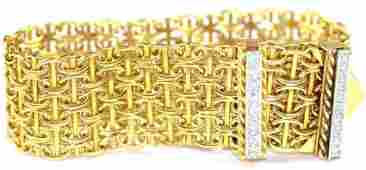 Vintage Open Work Ladies 18K Gold  Diamond Bracelet
