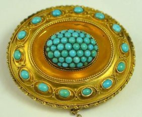 Antique Victorian Gold & Persian Turquoise Brooch
