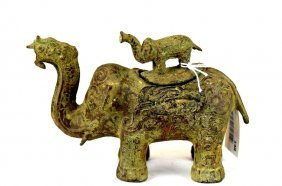 Chinese Bronze Elephant Vessel With Baby Elephant