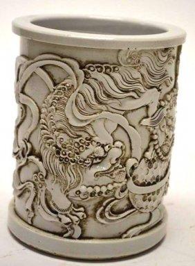 Chinese White Glaze Porcelain Dragon Brush Pot