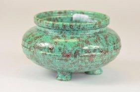Chinese Robin's Egg Tripod Bowl