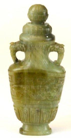 Chinese Carved Celadon Jade Lidded Vase