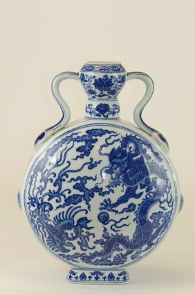 Chinese Blue & White Porcelain Dragon Moonflask
