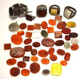 Lot Of Fifty Carnelian Intaglios And Rings