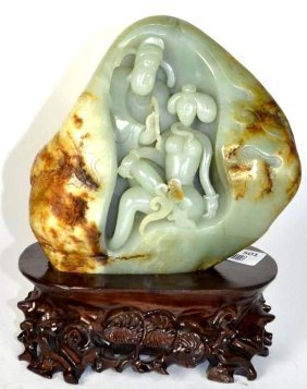 Carved Chinese Celadon River Jade On Stand