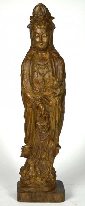 Chinese Carved Wood Standing Guan Yin