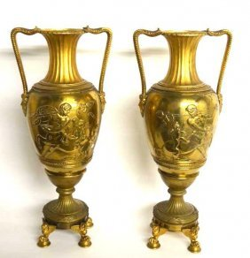 Pair Of Neo Classical Gilt Bronze Ewers