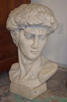 Large Carved White Marble Bust Of David