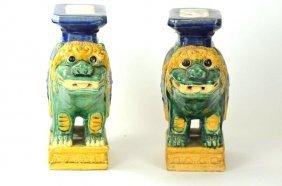 Two Chinese Sancai Glaze Foo Dog Statues