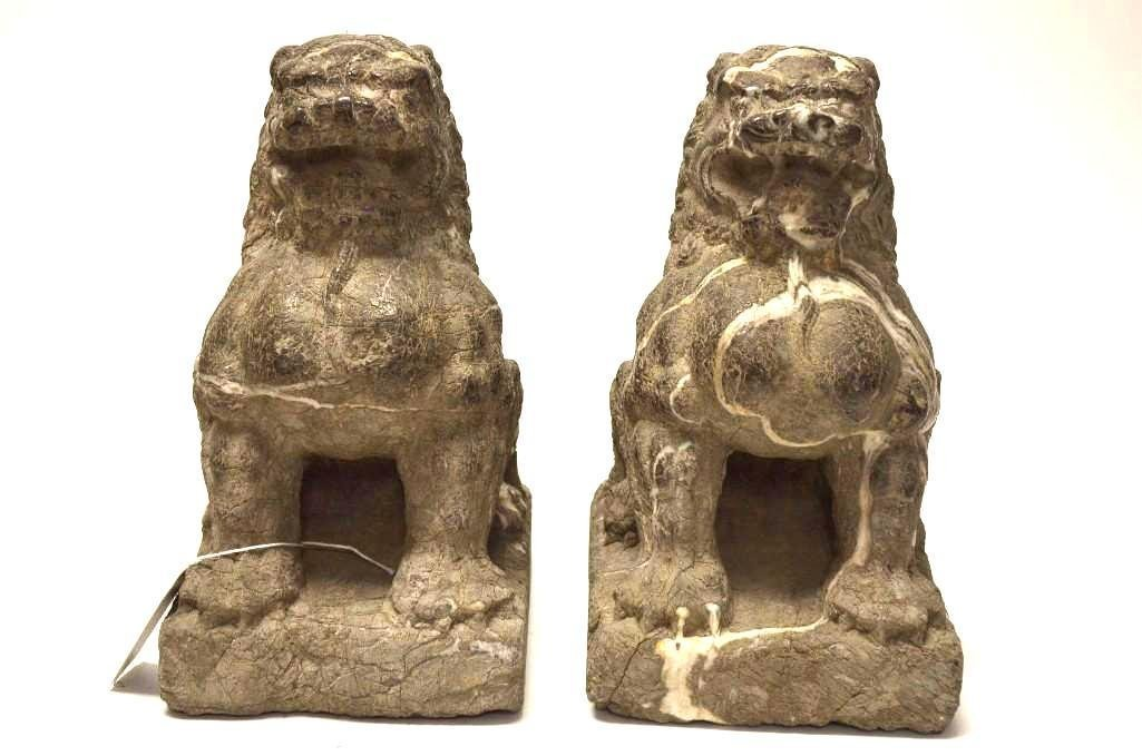 Pair of Carved Marble Foo Lions